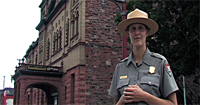 photo: Ranger Kristen stands outside the Calumet Theatre