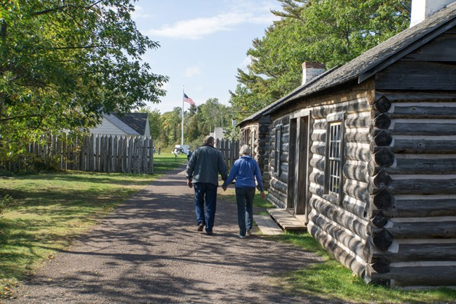 Visitors explore Fort Wilkins Historic State Park