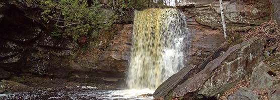 Hungarian Falls near Lake Linden has drawn visitors with its scenic setting through the ages.