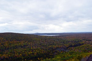 Looking out from Brockway Mountain at an overcast sky, fall colored foliage, and an inland lake.