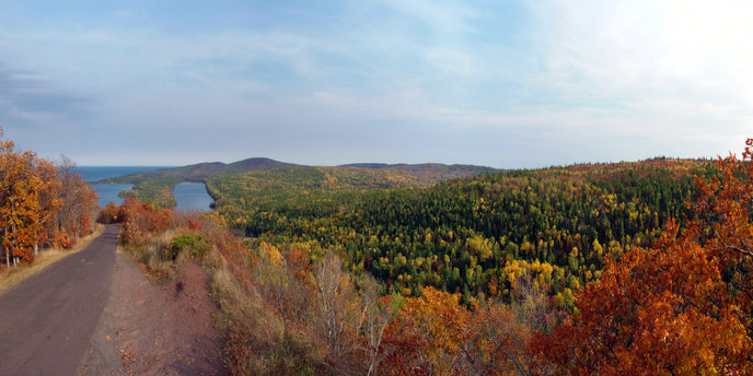 Fall panorama of trees and Lake Superior from Brockway Mountain Drive