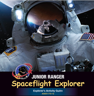 Person in a space suit with moon in background on the Spaceflight Junior Ranger booklet cover