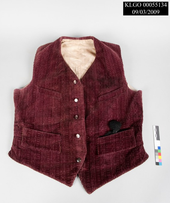 Man's vest from the Rapuzzi collection, currently stored in KLGO Collections Storage