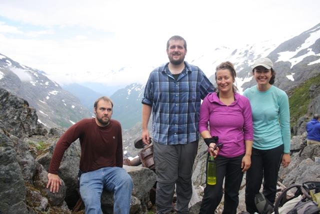 Archeology crew and artifact conservation interns on summit