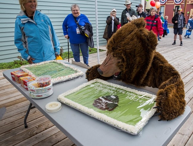 A person in a bear costume pretends to eat cake.