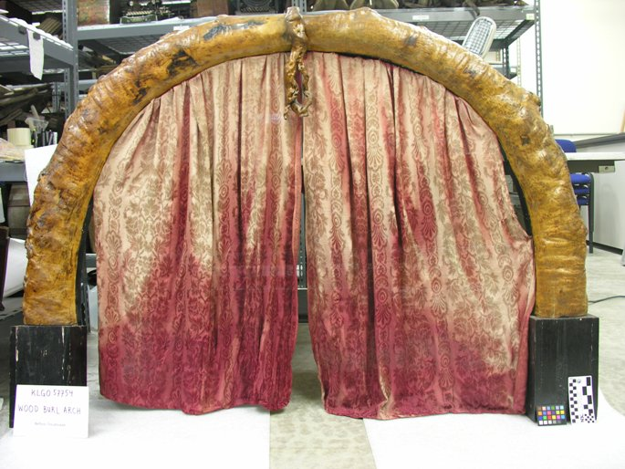 Overall image of the wood burl arch, before treatment