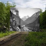Modern railroad track with black and white photo overlay of historic railroad track