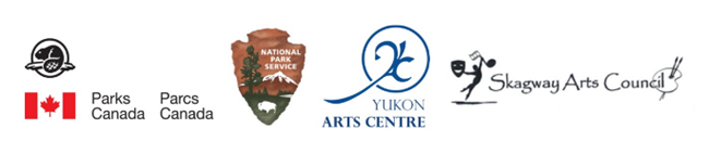 Logos for Parks Canada, National Park Service, Yukon Arts Centre, and the Skagway Arts Council