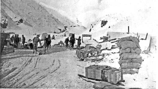 Historic black and white photograph of men and horses on the White Pass Trail