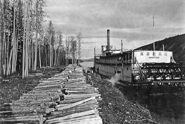 Large steamboat pulled up beside a riverbank with piles of cut logs.