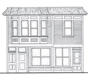Line drawing of two conjoined two story buildings.