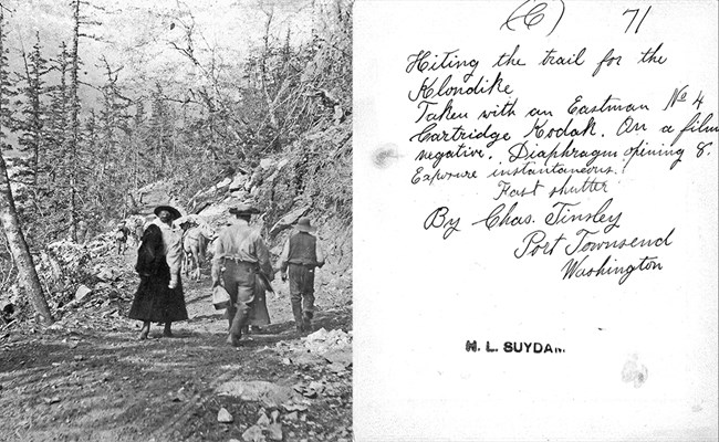 left people walking up a rough trail in old clothes, right reverse of photo with handwritten note