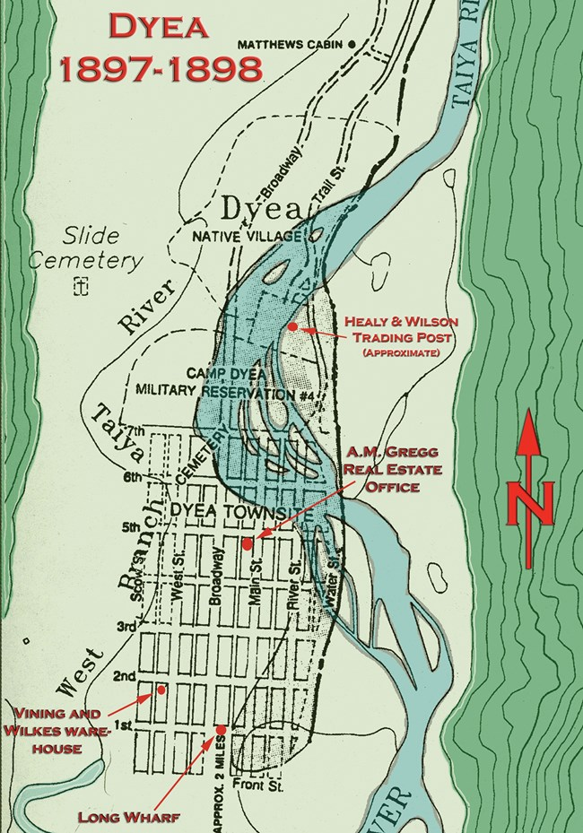 Map of Dyea in 1897-98.  Street grid with braided river.