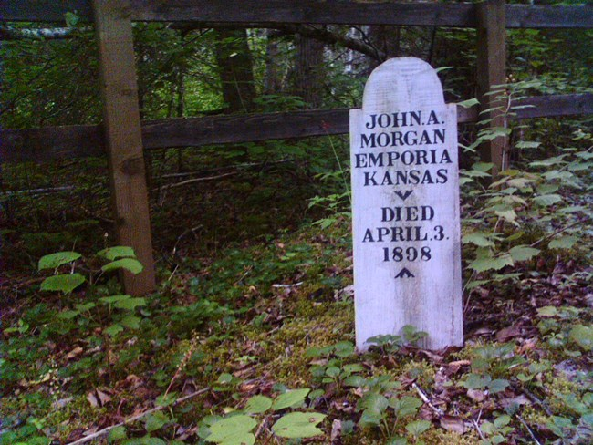 Wooden grave marker in front of a fence in a forest