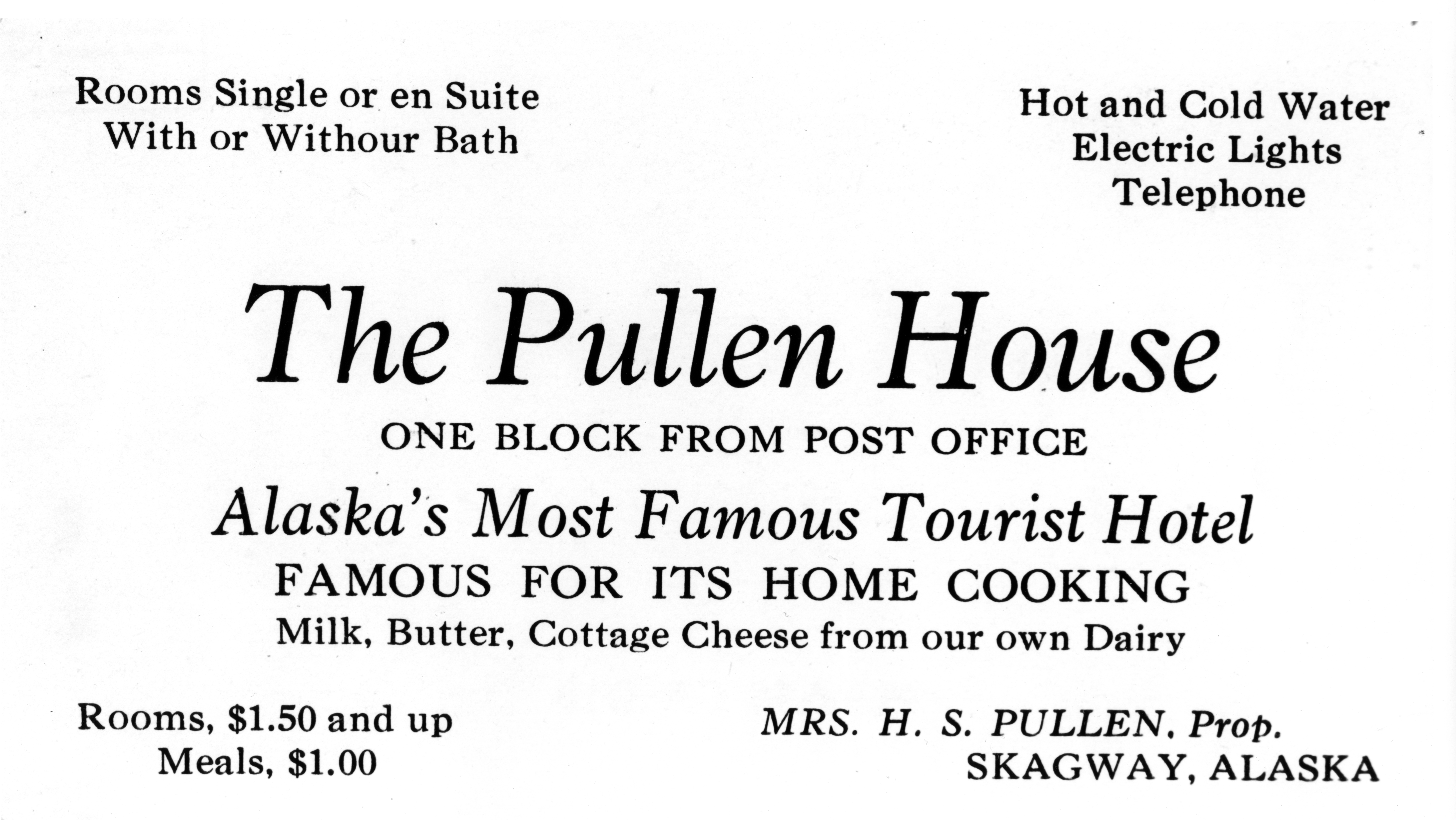 "Historic ad for ""The Pullen House"" with text ""Milk, Butter, Cottage Cheese from our own Dairy"""