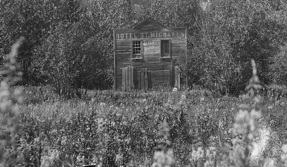"Boarded up ""Hotel St. Michael's"" in flower field"