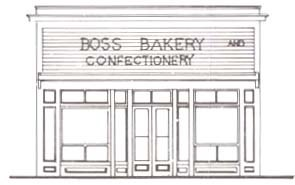 "Line drawing of building with large windows and text that says ""Boss bakery and confectionery."""