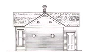 Line drawing of a house building
