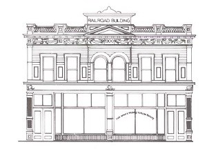Line drawing of historic building