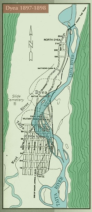 Blue and green map titled Dyea 1897-1898