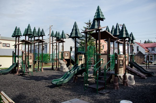 Photo of the playground equipment at Mollie Walsh Park