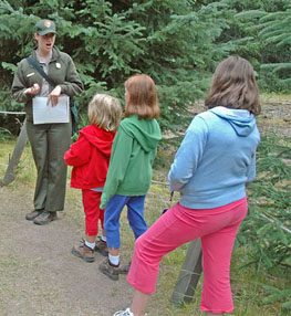 Ranger leading future Junior Rangers on a walk.