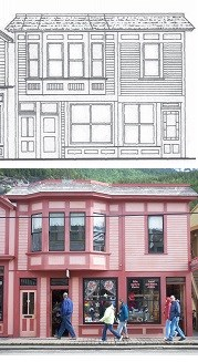 Top: line drawing of buildings Bottom: photograph of buildings with businesses inside and people out front.