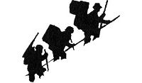 Drawing of silhouettes of three people hiking a steep incline