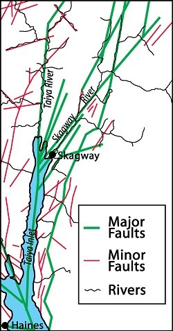 Map of Skagway and Haines with fault lines marked