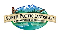 "Logo with mountain, totem pole, and eagle and text reading ""North Pacific Landscape Conservation Cooperative"""