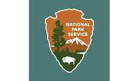 National Park Service arrowhead on blue background