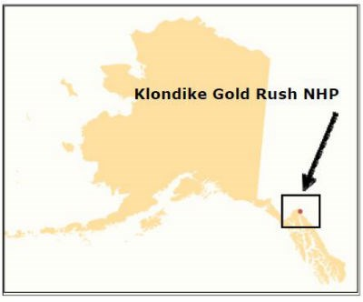 "Map of Alaska with text reading ""Klondike Gold Rush National NHP"" and arrow pointing to a red dot in a box."