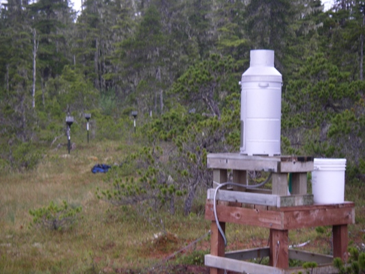 Scientific equipment in an open area among trees