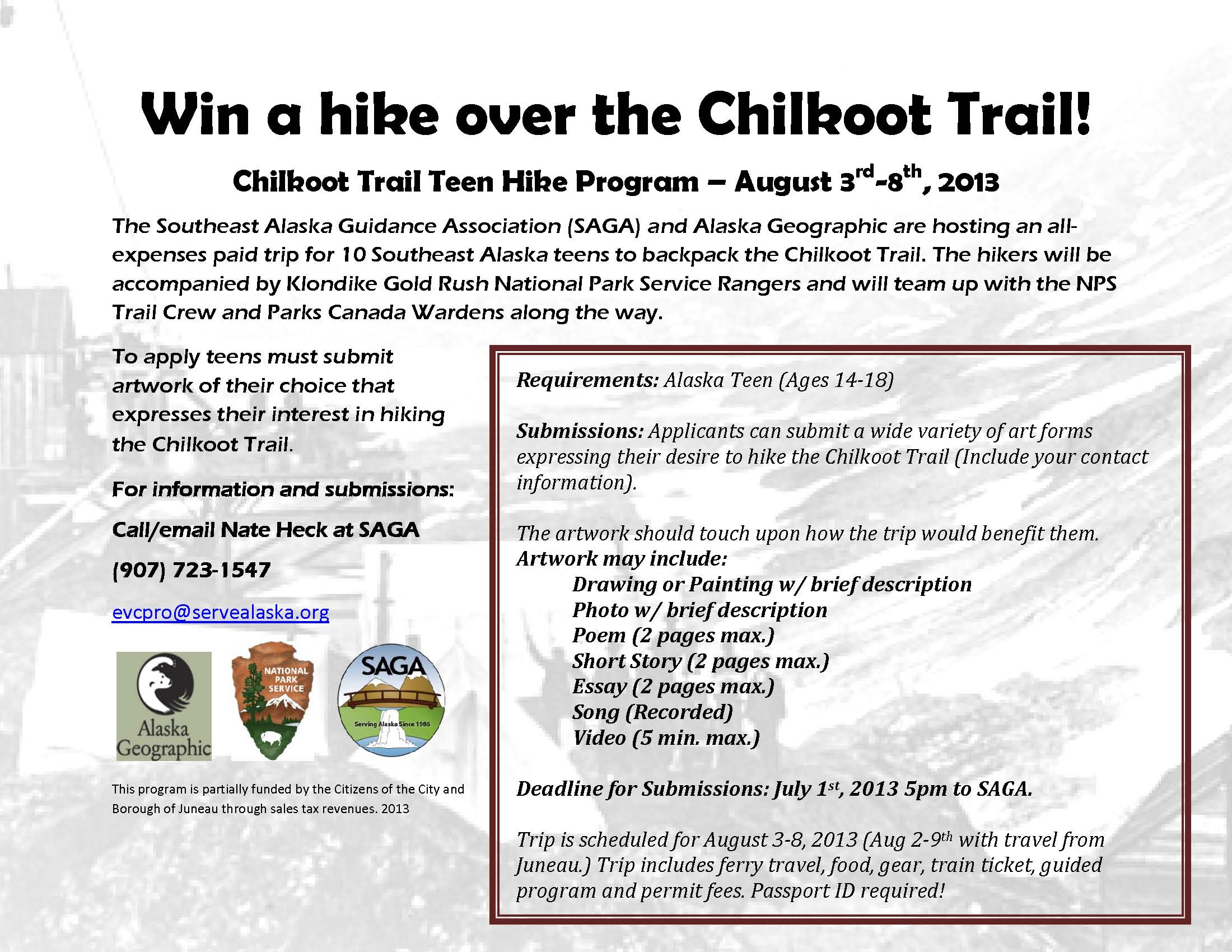 Win a hike over the Chilkoot Trail 2013