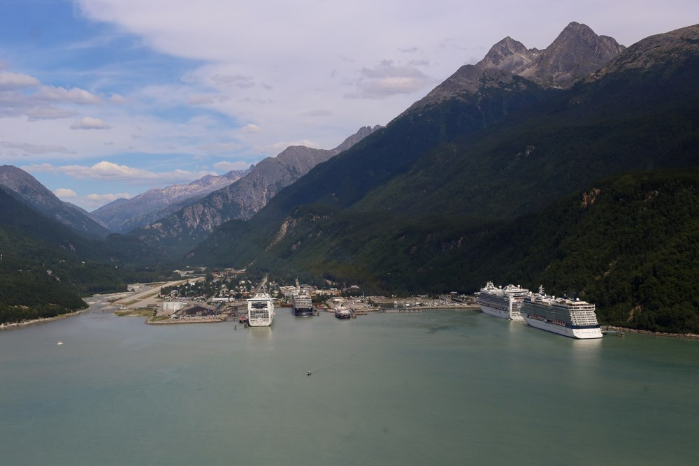 Aerial view of port town at foot of valley with several cruise ships