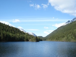 View across calm lake surrounded by trees and mountains