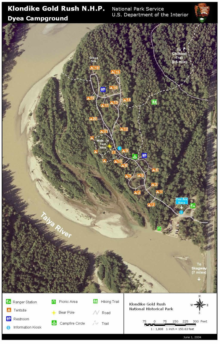 Aerial photo with campground map superimposed.
