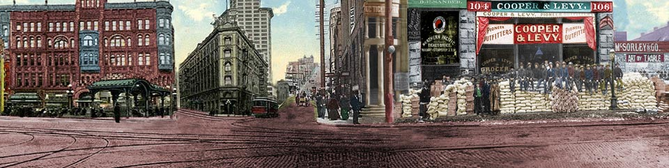 Artist rendering of Pioneer Square during Klondike Gold Rush