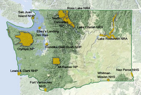 Map of Washington state National Park Units