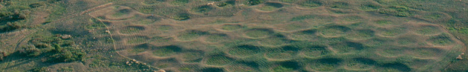 Aerial photograph of Big Hidatsa National Historic Landmark, located within Knife River Indian Villages National Historic Site.