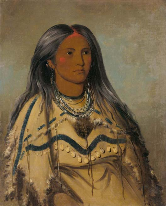 Portrait of Sha-kó-ka, a Mandan girl of twelve years of age