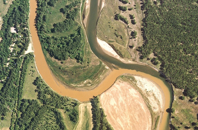 Confluence of the Knife River and a small arm of the Missouri River