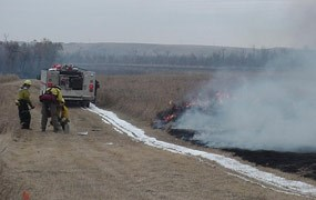 A prescribed fire at Knife River Indian Villages.
