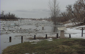 Spring flooding along the Knife River.