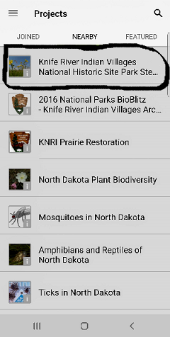 List from project drop down menu. Knife River project is the first of seven listings.