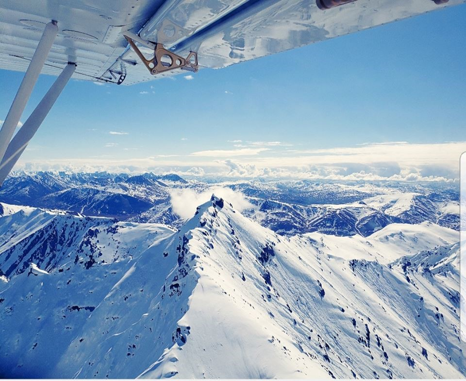 The view from the cockpit of the Supercub in Gates of the Arctic National Park and Preserve. Photo by NPS/Sara Germain