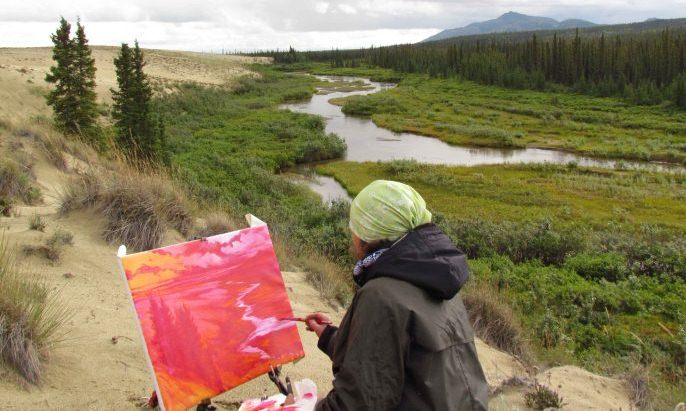 Artist-In-Residence, Constance Baltuck, at work along the edge of the Great Kobuk Sand Dunes.