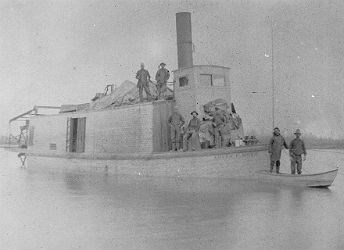 black and white photo of a steamship