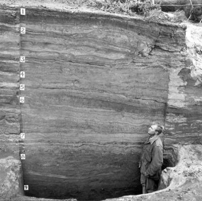 man standing in a deep pit labeled with numbers