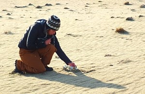 student kneels on sand to study bones